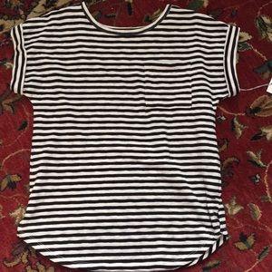 Black striped Cuffed tee shirt.
